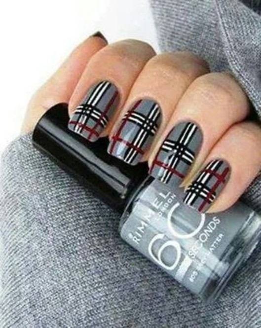 Gray Base Nails With Red Black And White Plaid Nail Art Design