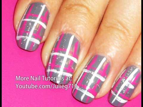 Gray Nails With Pink And White Plaid Nail Art