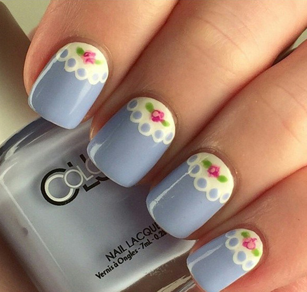 Gray nails with white lace and spring flower nail art mightylinksfo