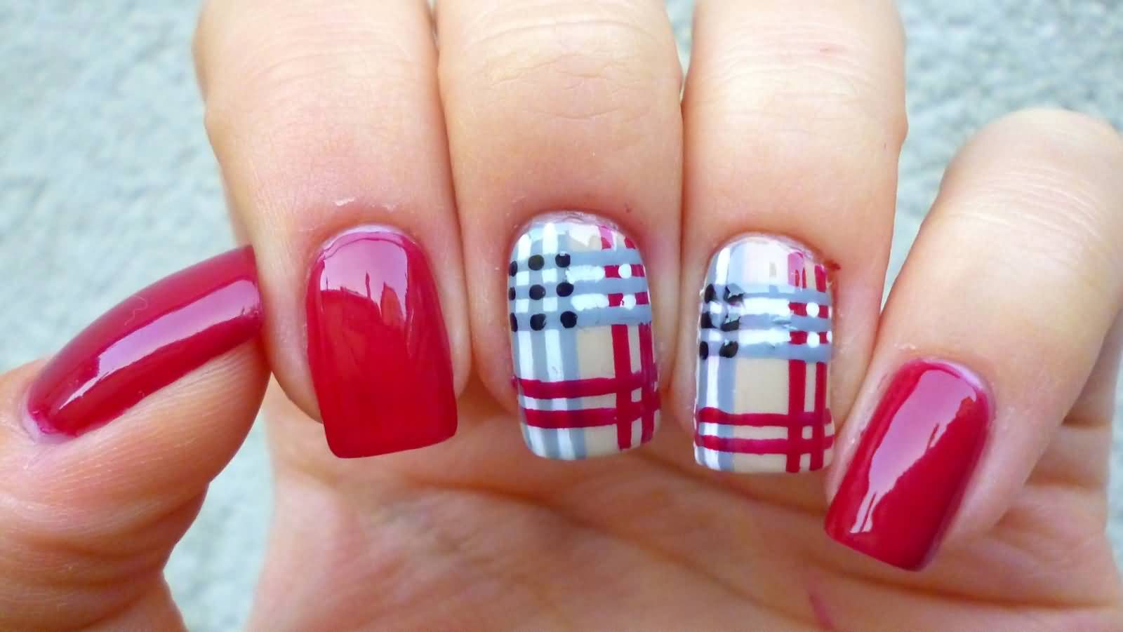 Gray White And Red Plaid Nail Art