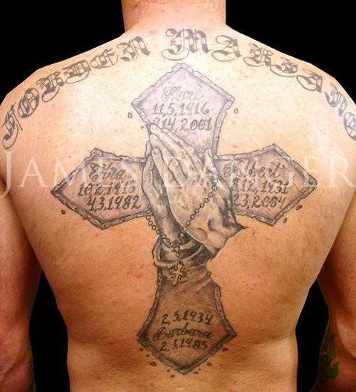 cbf70ddde5002 Great Memorial Cross Rosary Tattoo On Full Back