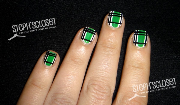 Green And Black Plaid Nail Art For St. Patrick's Day