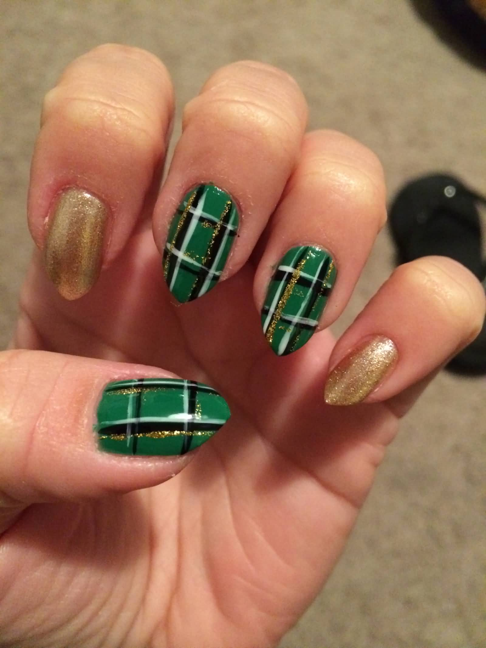 Green And Gold Glitter Plaid Nail Art