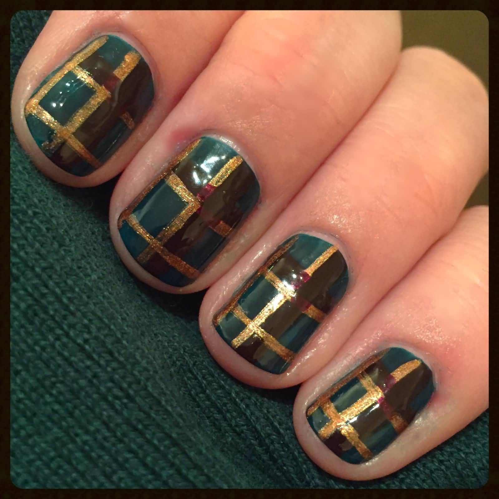 Green And Gold Stripes Plaid Nail Art
