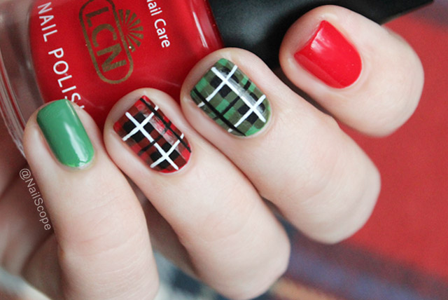 Green And Red Plaid Nail Art