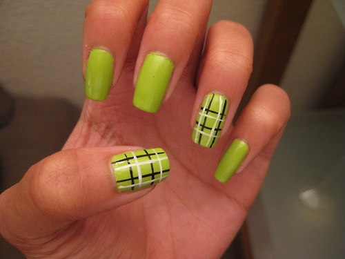 Green Nails With Black And White Plaids Design Nail Art