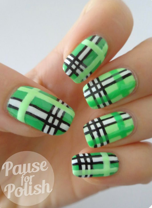 Green Plaid Nail Art With Black And White Stripes Design