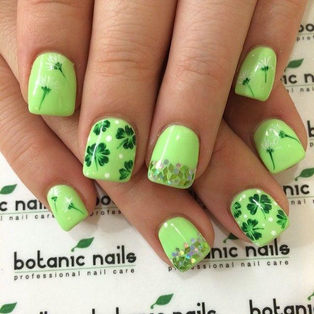 Green Shamrock Leafs Saint Patrick's Day Nail Art Design Idea - 50 Adorable Saint Patrick's Day Nail Art Design Ideas