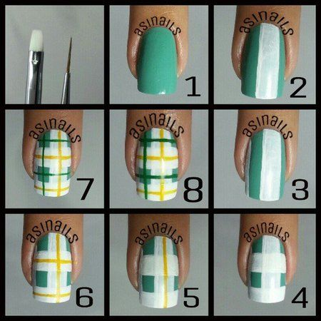 Green White And Yellow Plaid Print Nail Art