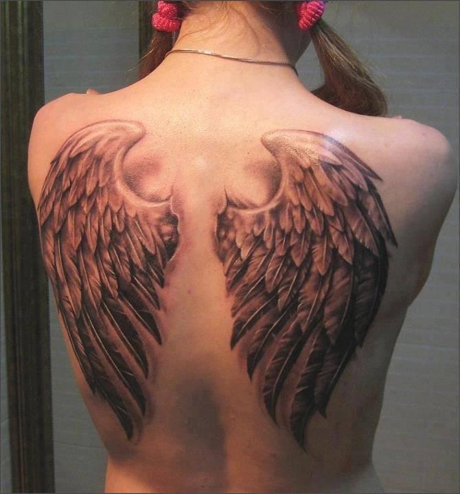 Grey 3D Angel Wings Tattoo On Upper Back Body