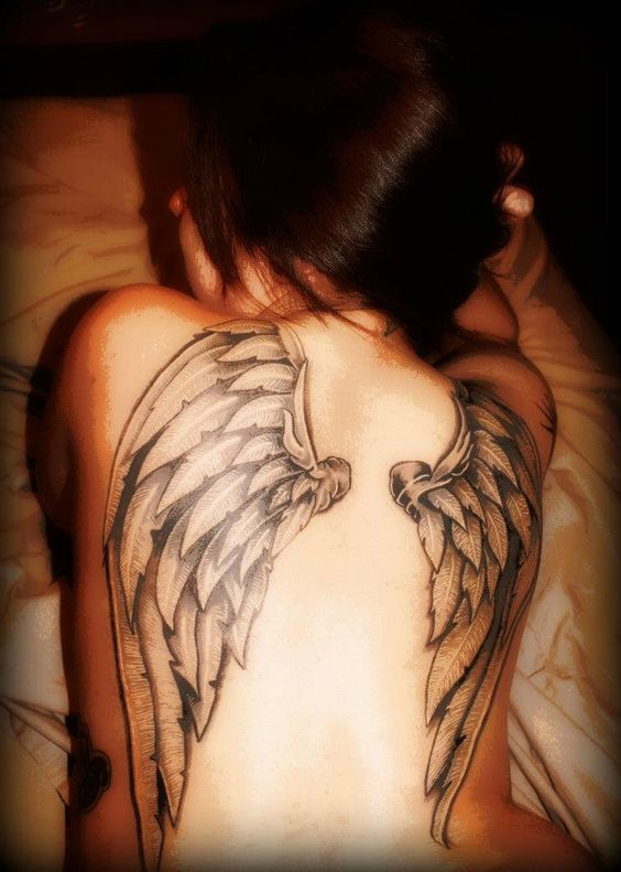 40 angel wings tattoos on back for Angel wing tattoos on back