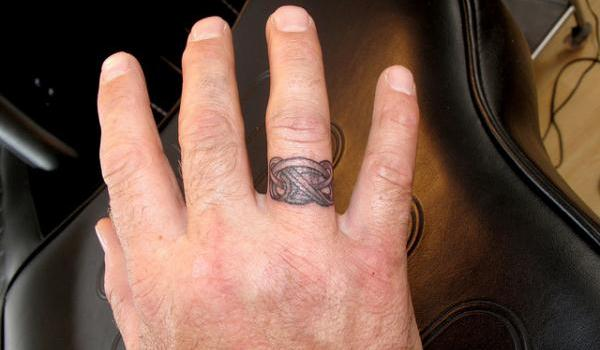 Grey Celtic Finger Ring Tattoo For Men