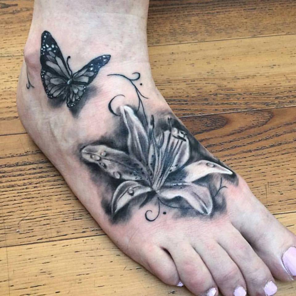57 butterfly and flower tattoos on foot for Flower and butterfly tattoo