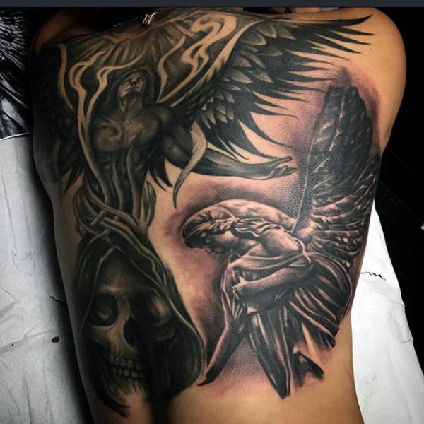 21 guardian angel tattoos on back. Black Bedroom Furniture Sets. Home Design Ideas