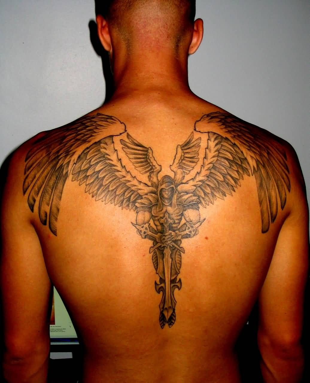 21 guardian angel tattoos on back. Black Bedroom Furniture Sets. Home Design Ideas