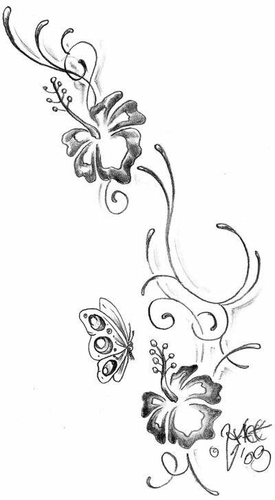 Hibiscus Flower Tattoo Stencil: 55+ Butterfly Flower Tattoos