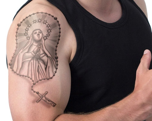 52 rosary tattoos for men for Holy mary tattoo