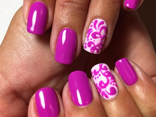 Hot Pink Gel Nail Art - 70 Most Beautiful Gel Nail Art Ideas