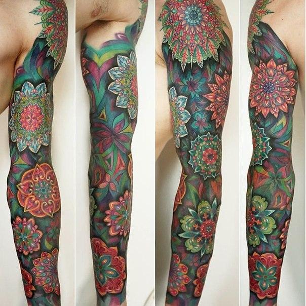 Tattoo Ideas With Color: 35+ Full Sleeve Mandala Tattoos