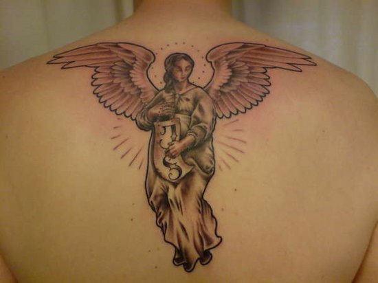 48 wonderful angel tattoos on upper back. Black Bedroom Furniture Sets. Home Design Ideas