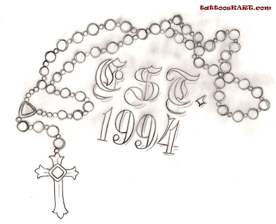 In Loving Memory Rosary Tattoo Drawing