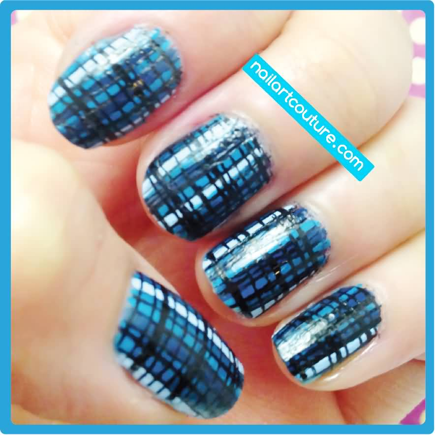 Incredible Blue Plaid Nail Art