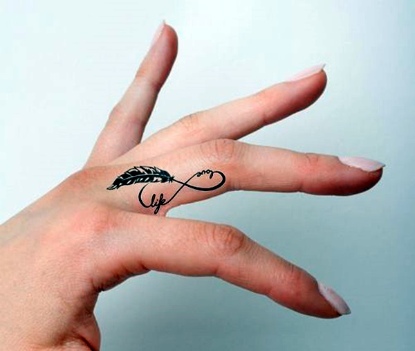 a6bb74a43 Infinity Love Life Feather On Girly Finger Tattoo