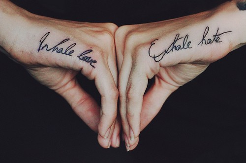 Blue Tribal Design On Side Hand Tattoo By Keith Elebourn