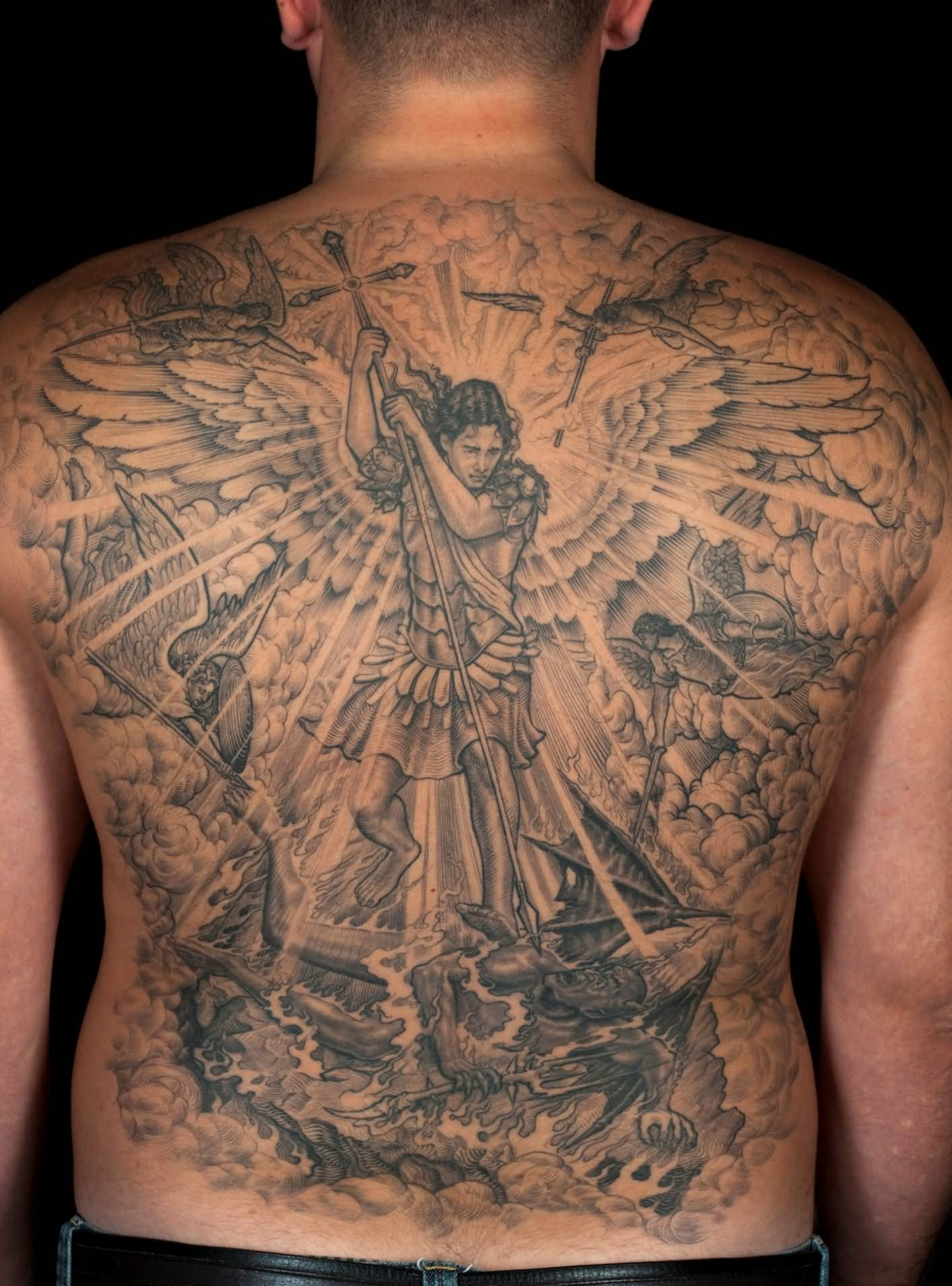 54 angel tattoos on full back for Whole back tattoos