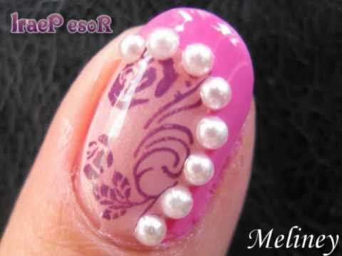 Konad Rose Flower Stamping With Pearls Design Nail Art With Tutorial