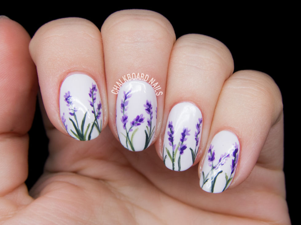 Lavender blossom flowers spring nail art prinsesfo Image collections