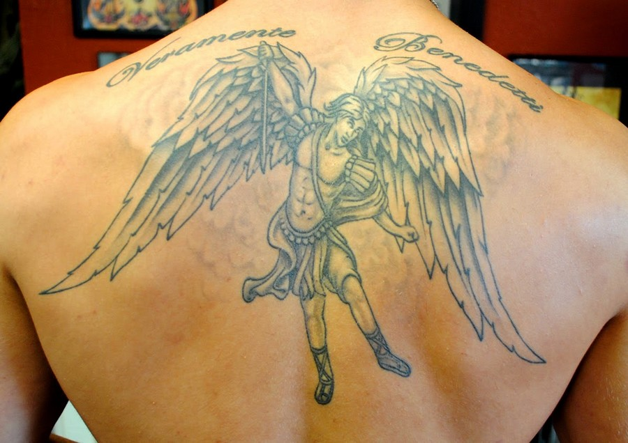 40 angel wings tattoos on back for Tattoos on back