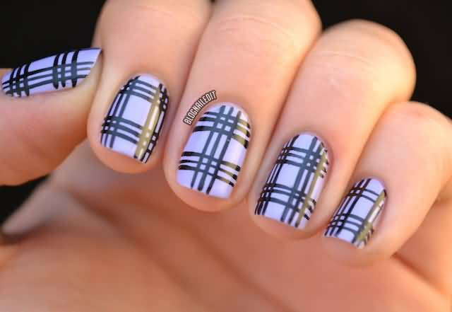 Light Purple And Black Plaid Nail Art Design Idea