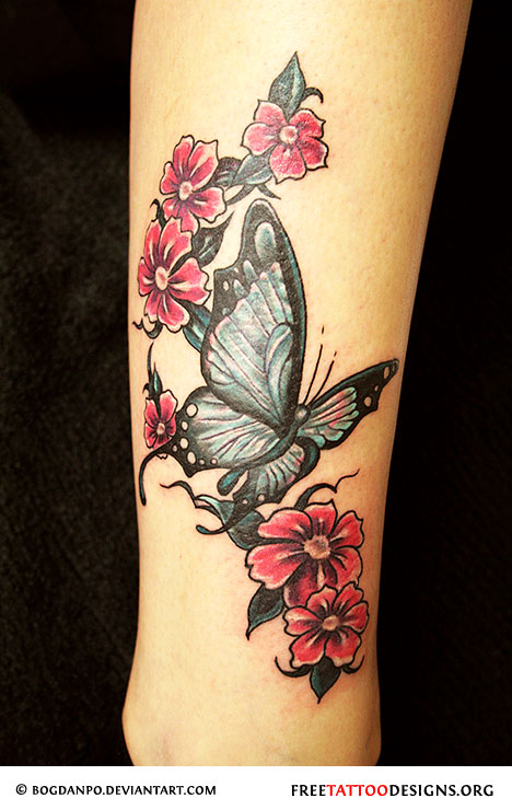55 butterfly flower tattoos for Flower tattoos on lower arm