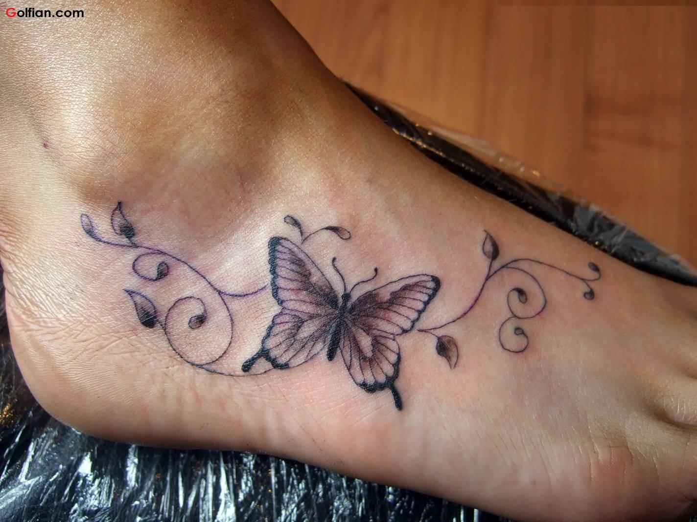48aa36739 Lovely Butterfly Vine Tattoo On Foot