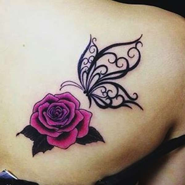 70 cute butterfly tattoos collection for Rose tattoo on back shoulder