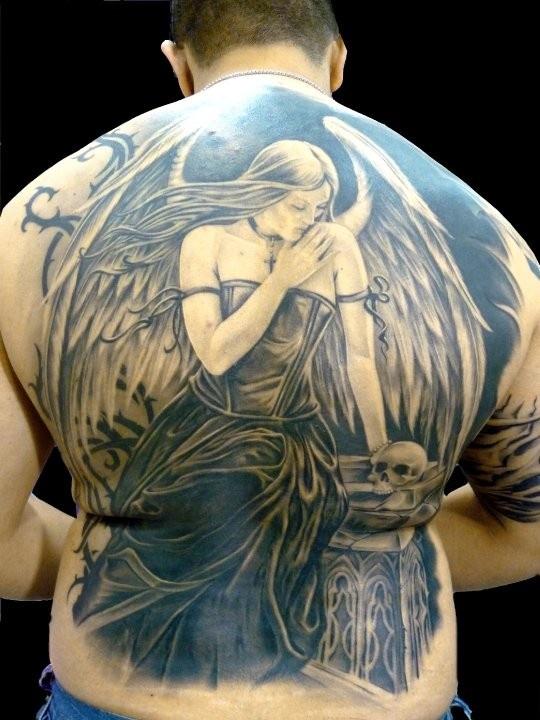 54 angel tattoos on full back. Black Bedroom Furniture Sets. Home Design Ideas