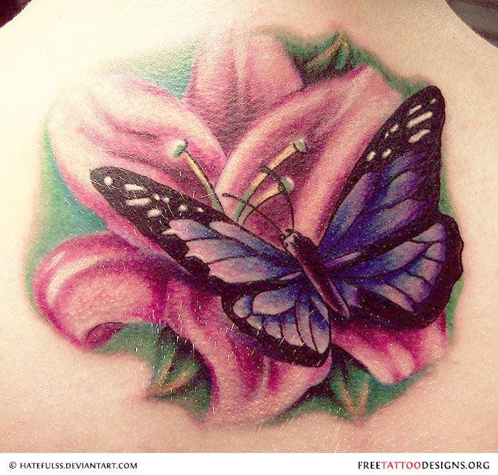 d5d2e708d9b98 Lovely Floral Butterfly Tattoo