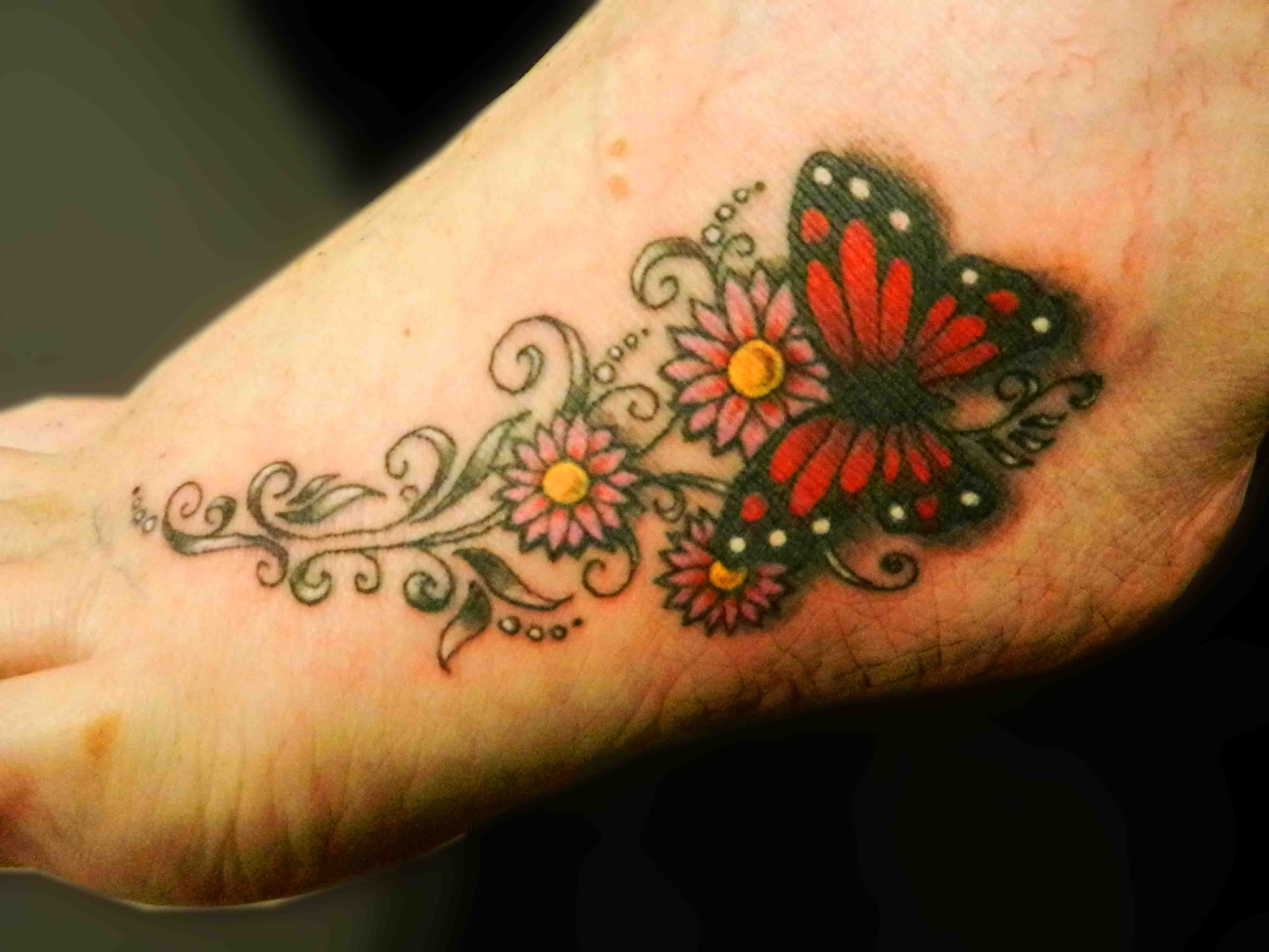 57 butterfly and flower tattoos on foot lovely flowers butterfly tattoo on foot izmirmasajfo