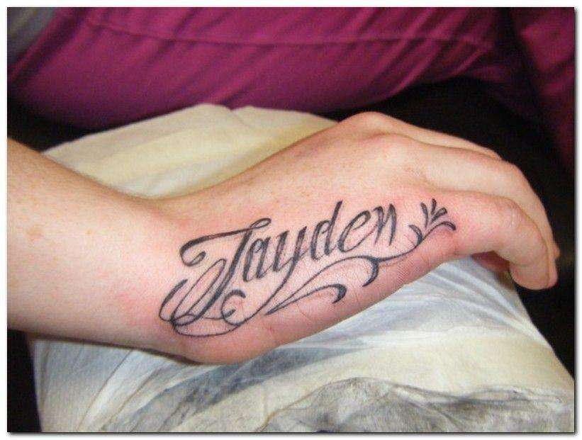 Lovely Name Side Hand Tattoo