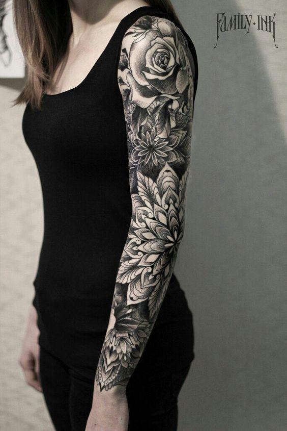 374b0cf4c6282 Mandala And Roses Blackwork Tattoo On Sleeve By Family Ink