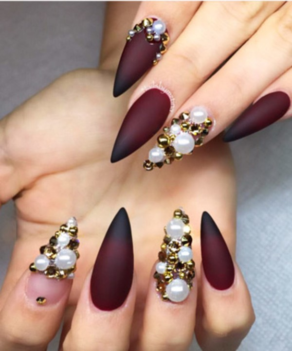 Maroon And Red Matte Gradient Nails With Pearls Design Nail Art