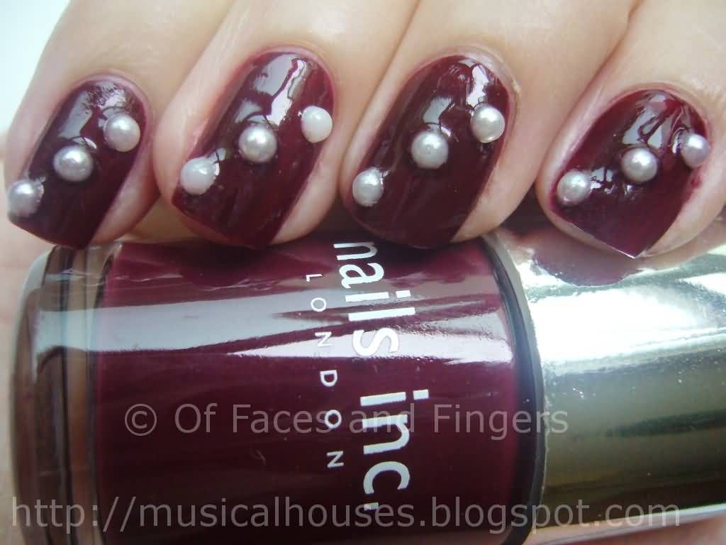 Maroon nails with white pearls design nail art prinsesfo Images