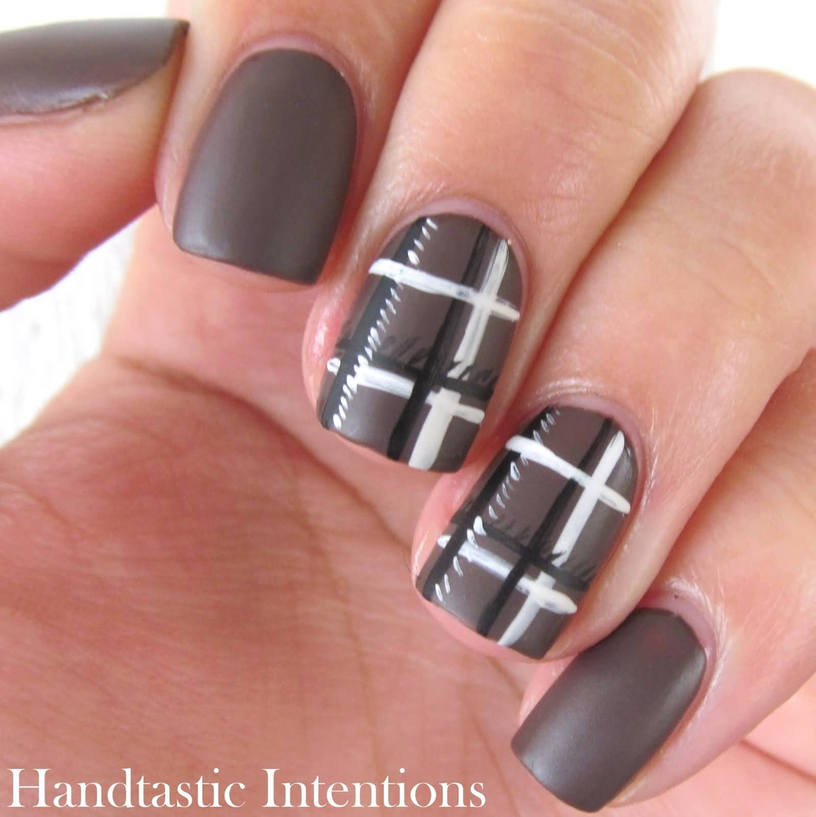 Matte Brown With Black And White Plaid Print Nail Art
