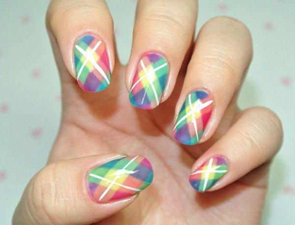 Multicolored Plaid Nail Art Design Idea