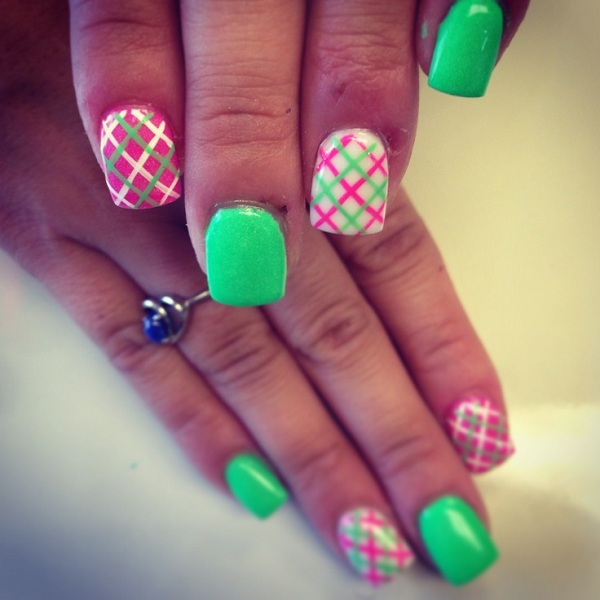 Neon Diagonal Plaid Nail Art