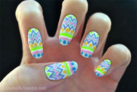 60 incredible easter nail art ideas neon easter egg nail art prinsesfo Choice Image