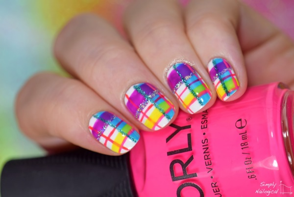 Neon Plaid Print Nail Art