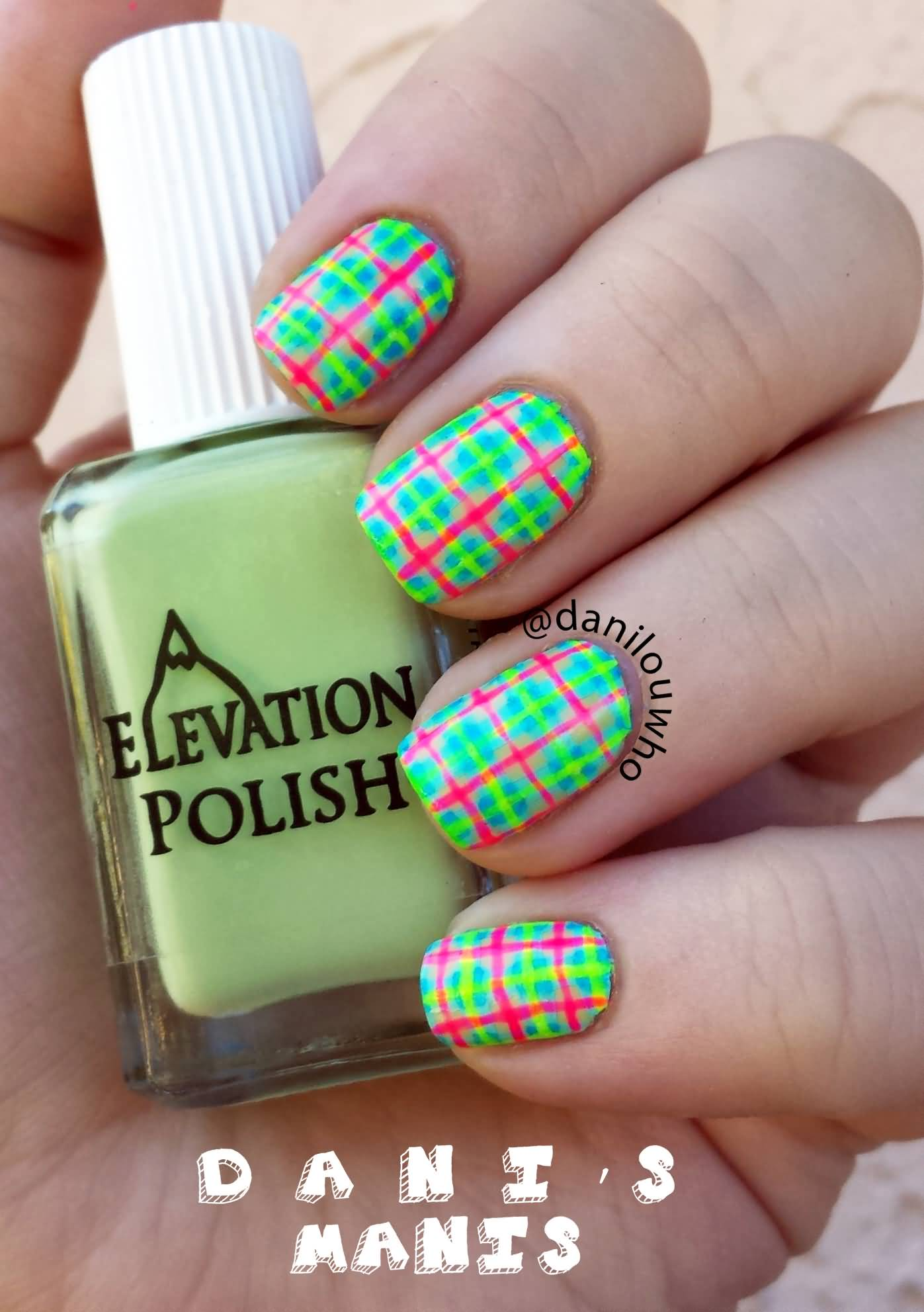Neon Plaid Stripes Design Nail Art