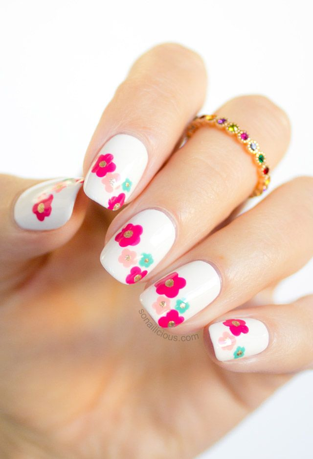 60 most beautiful spring nail art designs neon spring flowers nail art prinsesfo Gallery